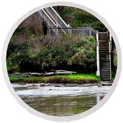 Round Beach Towel featuring the photograph Steps To The Beach by Jerry Sodorff