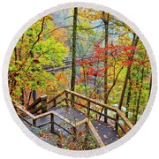 Steps To The Gorge Round Beach Towel