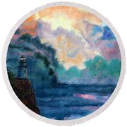 Steps To The Lighthouse Round Beach Towel