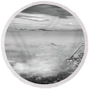 Round Beach Towel featuring the photograph Steps To The Smoky Sea by Gary Gillette