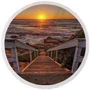 Steps To The Sun  Round Beach Towel