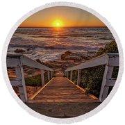 Steps To The Sun  Round Beach Towel