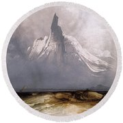 Round Beach Towel featuring the painting Stetind In Fog by Peder Balke