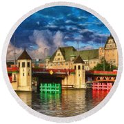 Stettin Bridge - Pol890431 Round Beach Towel