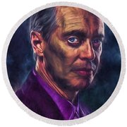 Steve Buscemi Actor Painted Round Beach Towel by David Haskett