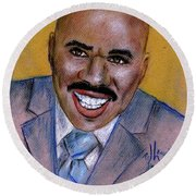 Round Beach Towel featuring the drawing Steve Harvey by P J Lewis