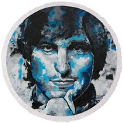 Round Beach Towel featuring the painting Steve Jobs II by Richard Day