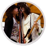 Steven Tyler And Joe Perry Of Aerosmith At Monsters Of Rock In Oakland Ca 1979 Round Beach Towel