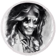 Steven Tyler Illustration  Round Beach Towel by Scott Wallace