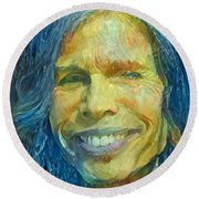 Round Beach Towel featuring the painting Steven Tyler by Paul Van Scott