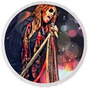 Steven Tyler  Round Beach Towel by Scott Wallace