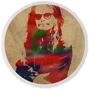 Steven Tyler Watercolor Portrait Aerosmith Round Beach Towel