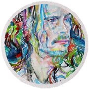Steven Tyler - Watercolor Portrait Round Beach Towel