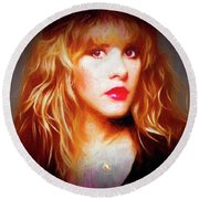 Stevie Nicks Drawing Round Beach Towel by Michael Cleere