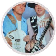 Stevie Ray And Jimmie Vaughan Round Beach Towel