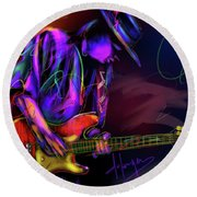 Round Beach Towel featuring the painting Stevie Ray Vaughan by DC Langer