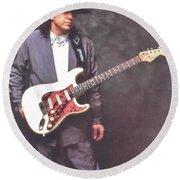 Stevie Ray Vaughan Mr Smooth Round Beach Towel