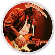 Stevie Ray Vaughan Painting Round Beach Towel