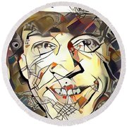 Round Beach Towel featuring the painting Stevie Ray Vaughan by Paul Van Scott