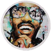 Round Beach Towel featuring the painting Stevie Wonder Portrait by Richard Day