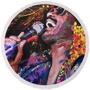 Round Beach Towel featuring the painting Stevie Wonder by Richard Day