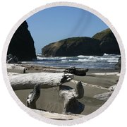 Round Beach Towel featuring the photograph Sticks And Stones by Marie Neder