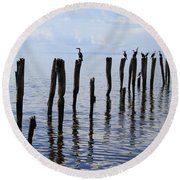 Round Beach Towel featuring the photograph Sticks Out To Sea by Stephen Mitchell