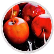 Sticky Red Toffee Apple Childhood Treat Round Beach Towel