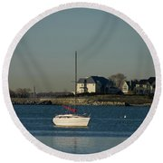 Still Boat Round Beach Towel