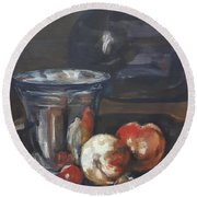 Still In Oil After Paul Chardin Round Beach Towel
