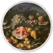 Still Life Round Beach Towel by Bartolomeo Bimbi