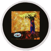 Round Beach Towel featuring the painting Still Life. Cherries For The Queen by Anastasija Kraineva