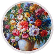 Still Life Colourful Flowers In Bloom Round Beach Towel
