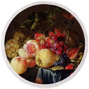 Still Life Round Beach Towel by Cornelis de Heem