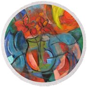 Still Life-flowers With Fruit Round Beach Towel