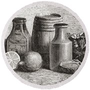 Still Life. From A 19th Century Print Round Beach Towel