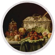 Still Life  Fruit And Dishes  Late 19th Century Oil On Panel Gottfried Schultz  German  1842  1919 Round Beach Towel