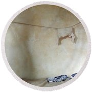 Still Life In A Colonial Bedroom Round Beach Towel
