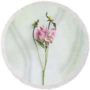 Still Life Of A Peony With Texture Overlay Round Beach Towel