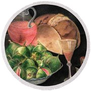 Still Life Of Figs, Wine, Bread And Books Round Beach Towel