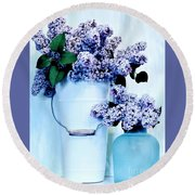 Still Life Of Lilacs Round Beach Towel