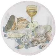 Still Life Of White Food Round Beach Towel