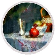 Still Life Oil Painting Table With Pomegranate Ceramic Kettle Glass Knife And Bowl Of Fruit Pears Linen Sketch Painting Life Drawing Round Beach Towel by MendyZ