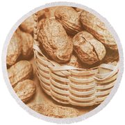 Still Life Peanuts In Small Wicker Basket On Table Round Beach Towel