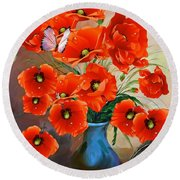 Still Life Poppies Round Beach Towel