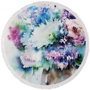 Still Life Rose Bouquet Watercolour Round Beach Towel