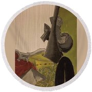 Still Life With A Black Horse- Cubism Round Beach Towel