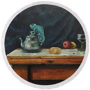 Still Life With A Chameleon Round Beach Towel