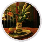 Round Beach Towel featuring the photograph Still Life With Apple by Anne Kotan