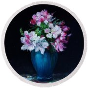 Still Life With Apple Tree Flowers In A Blue Vase Round Beach Towel
